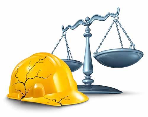 This image shows a cracked construction helmet and the scales of justice. If you need a Garden City construction accident lawyer, Cellino Law is here to help.