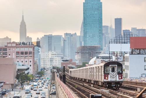 A scenic photograph of a train in New York.