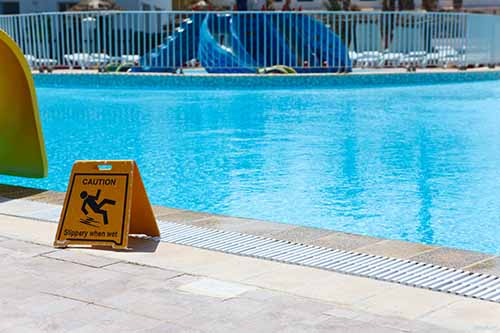 Swimming pool caution sign