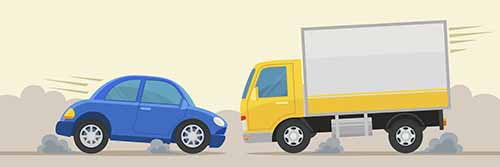 Truck and car collision. A Garden City truck accident lawyer at Cellino Law will fight to get you the maximum compensation.