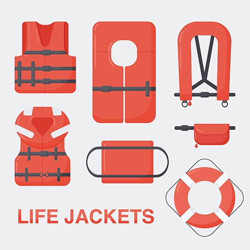 This image shows different types of life jackets.