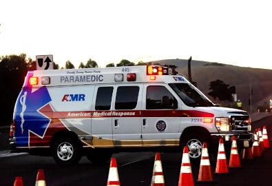 Ambulance present at a car crash site