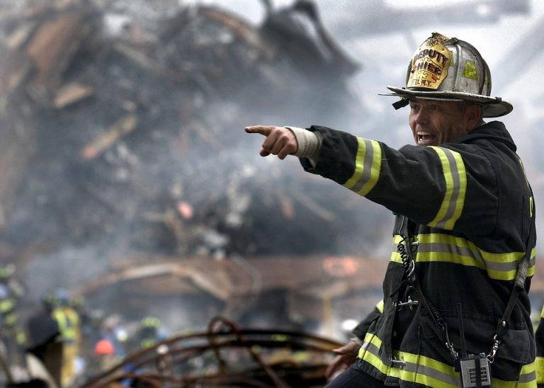 Fireman at a scene of a building collapse in Florida